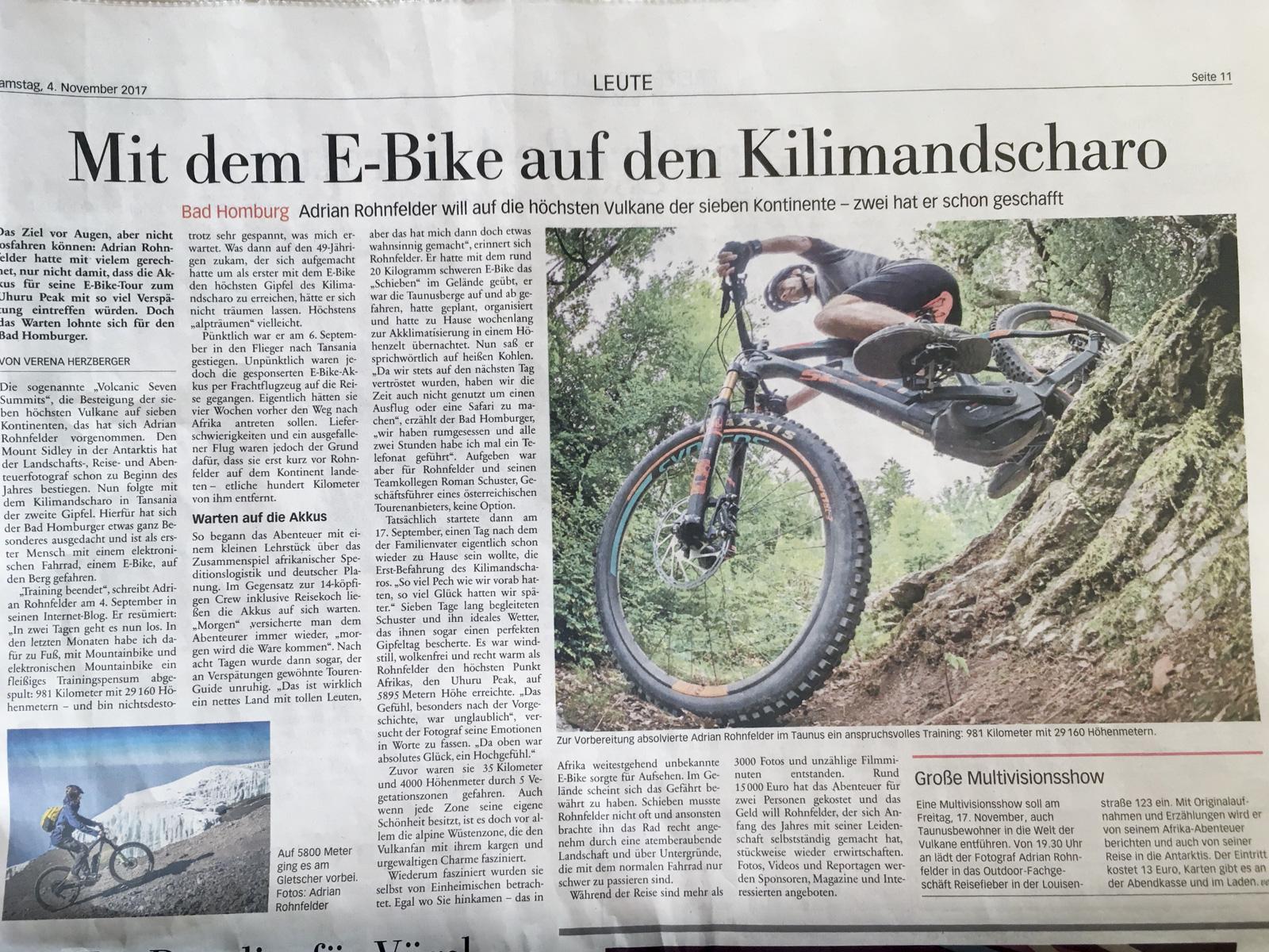 Kilimandscharo in der Taunuszeitung