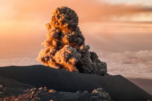Eruption of Semeru volcano in early morning light