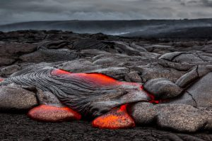 Hot lava field at Kilauea