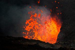Explosive eruption at Tolbachik volcano lava lake