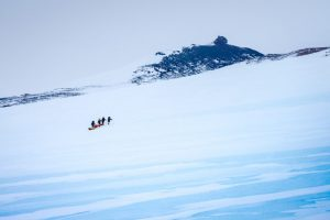Mountaineering on blue ice