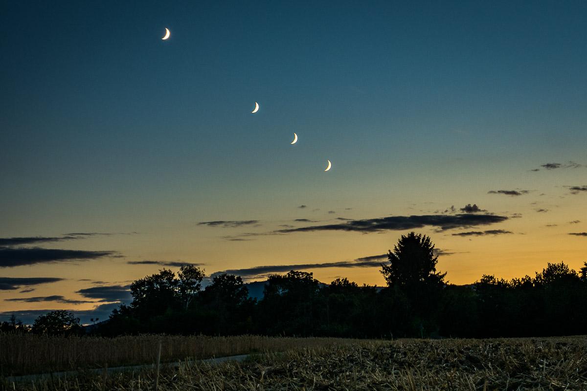 Mehrere Mondsicheln in einer einzigen Aufnahme