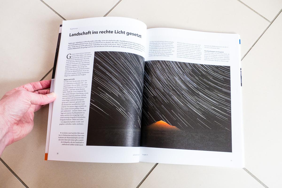 """Artikel """"Licht setzen"""" im Astronomie Magazin"""