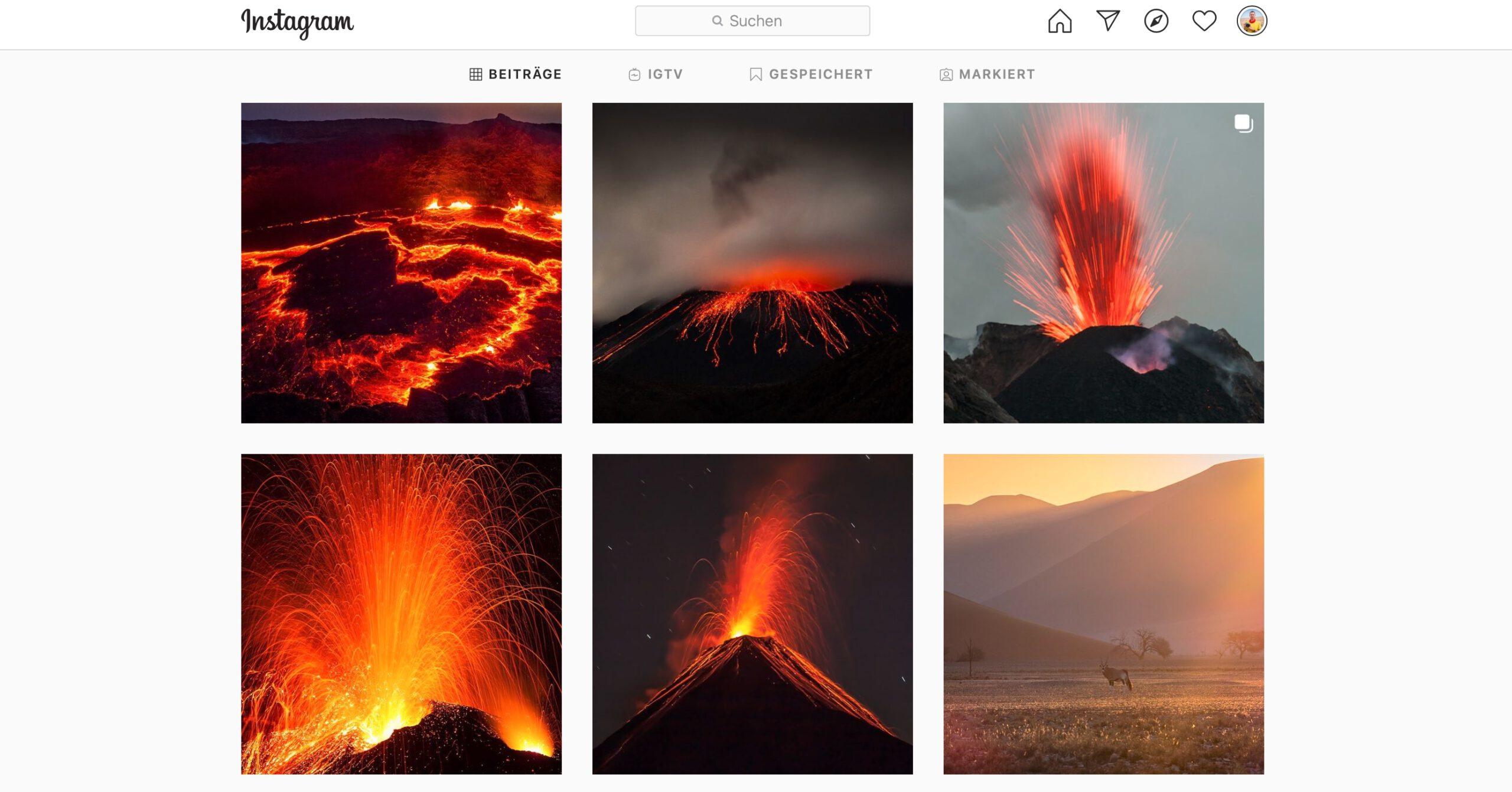 Vulkanwochen auf Instagram
